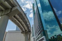 Buildings and train track in downtown Miami, Florida, USA - stock photo