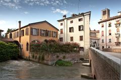 River and buildings in Treviso, Italy Stock Photos