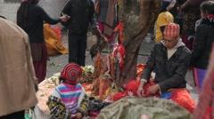 Hindu priest preparing for ceremony,Dakshinkali,Nepal Stock Footage