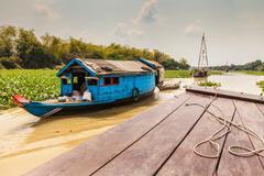Boat trip from Siem Reap to Battambang along the Sangkae River. Local river Stock Photos