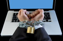 Hands businessman addicted to work bond with iron chain workaholic concept - stock photo