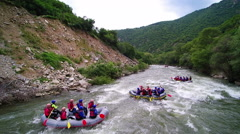 River Rafting aerial view, extreme and fun sport. Drone video. - stock footage
