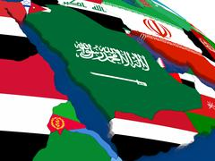 Arab peninsula on 3D map with flags Stock Illustration