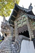 Buddhist shrine exterior, Chiang Mai City, Thailand Stock Photos