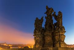 Statues on Charles Bridge, Prague, Czech Republic Stock Photos