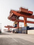 Shipping container loading facility, Xi'an, Shaanxi, China - stock photo