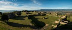 View over Monte Alban at dawn, Oaxaca, Mexico Stock Photos