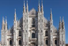 Symmetrical view of Milan Cathedral, Milan, Italy Stock Photos