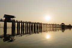 U-Bein Bridge, Amarapura, Mandalay, Burma Stock Photos