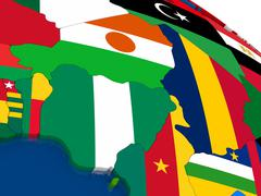 Niger and Nigeria on 3D map with flags - stock illustration