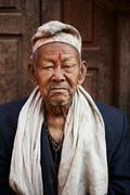 Portrait of senior man, Thamel, Kathmandu, Nepal Stock Photos