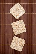 Composition of square three crunchy rye crispbreads Stock Photos