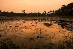 Sunset over Lake, Angkor, Siem Reap, Cambodia, Indochina, Asia Stock Photos