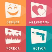 Movie genres poster. Cartoon vector illustration. - stock illustration