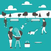 Picnic. Man preparing meat. Summer party in park - stock illustration