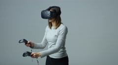 Woman Wearing Virtual Reality Headset In Studio Shot On R3D Stock Footage