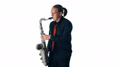 Happy saxophonist plays music on sax on white background - stock footage