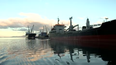 Industrial boats on water Stock Footage
