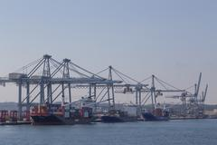 Container terminal in Aarhus, Denmark - stock photo