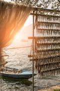 Fish drying, Lake Iseo, Lombardy, Italy - stock photo