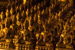 Rows of golden statues, buddhist temple, Chiang Mai, Thailand, Southeast Asia Kuvituskuvat