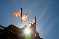 Catalan, Spanish and Barcelona flags, Town Hall, Barcelona, Catalonia, Spain Stock Photos