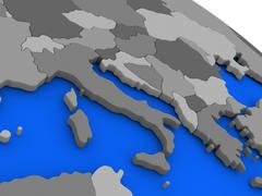 Italy on political Earth model Stock Illustration
