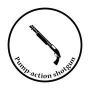 Pump-action shotgun icon - stock illustration