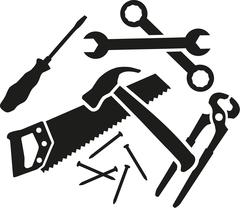 Chaos of working tools - screwdriver, wrench, hammer, saw, plier, nails - stock illustration