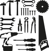 Tools set - saw, wrench, screwdriver, nails, screw, drill - stock illustration
