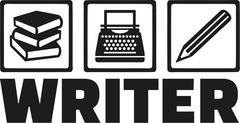 Writer tools - book, typewriter, pen Stock Illustration