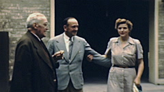 USA 1947: portrait of people outside their house Stock Footage