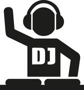 DJ icon with turntables Stock Illustration