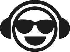 DJ smiley with sunglasses Stock Illustration