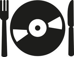 DJ set - vinyl with knife and fork Stock Illustration