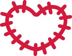 Patch with big stitches heart shape - stock illustration