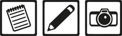 Journalist icons - pencil notepad camera Stock Illustration