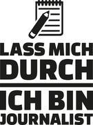 Let me through, I am journalist - german - stock illustration