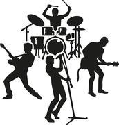 Rock band silhouette - stock illustration