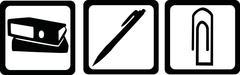 Office tools - file, biro, paper clip - stock illustration