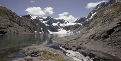 Small Glacier water fall in Fiordland National Park Stock Footage