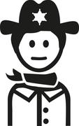 Sheriff man icon - stock illustration