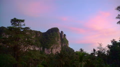 Limestone mountain in Krabi, Thailand at dusk, purple sunset with palm tree Stock Footage
