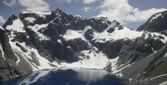 Flying Over Glacier water pool in Fiordland National Park Stock Footage