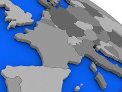France on political Earth model - stock illustration