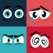 Expressive eyes design - stock illustration