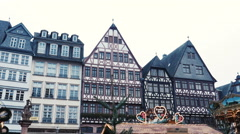 Christmas Market FrankFurt Germany - Römer square Stock Footage