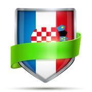 Shield with flag Croatia and ribbon - stock illustration