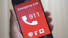 4K Emergency 911 Call on Smartphone Stock Footage