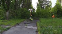 Chernobyl, pripyat, Kurchatov street, copter - stock footage